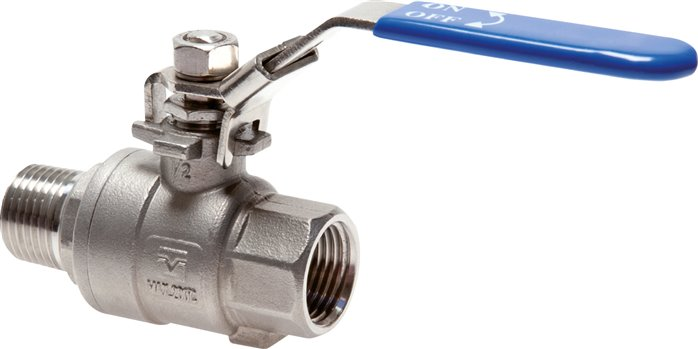 Stainless steel screw in ball valves 2-part, lightweight design, full bore, PN 63 (Eco-Line)