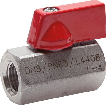 Stainless steel mini-ball valves with butterfly handle on one side, PN 63 (Eco-line)