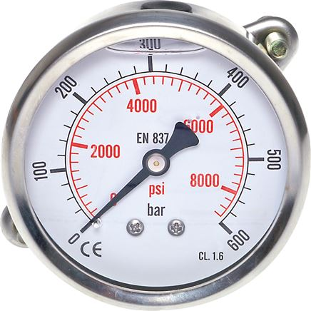 Glycerine built-in pressure gauge Ø 63 mm nickel chromium steel/brass, Eco-Line
