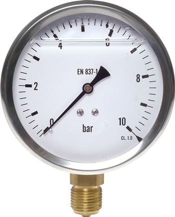 Glycerine pressure gauge, vertical, Ø 100 mm nickel chromium steel/brass, Eco-Line