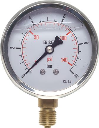 Glycerine pressure gauge, vertical, Ø 63 mm nickel chromium steel/brass, Eco-Line