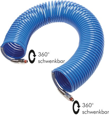 Polyamide coil tubes with bend protection spiral 360° swivelling, DIN 73378/(Eco-Line)